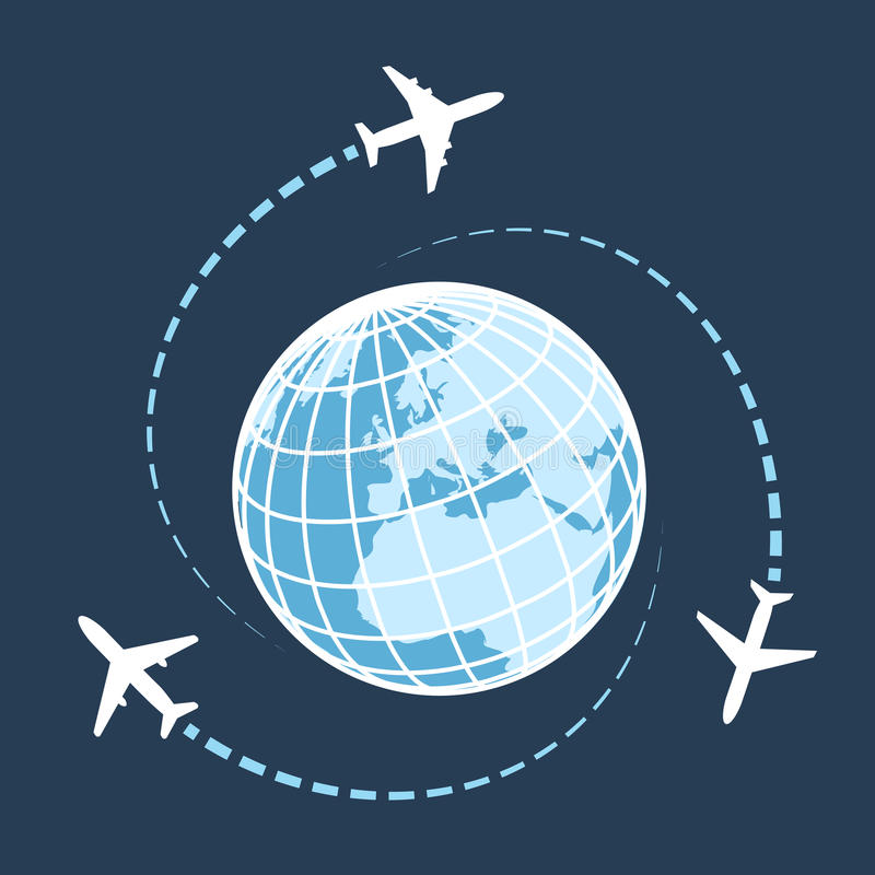 Traveling around the world by air transport stock illustration