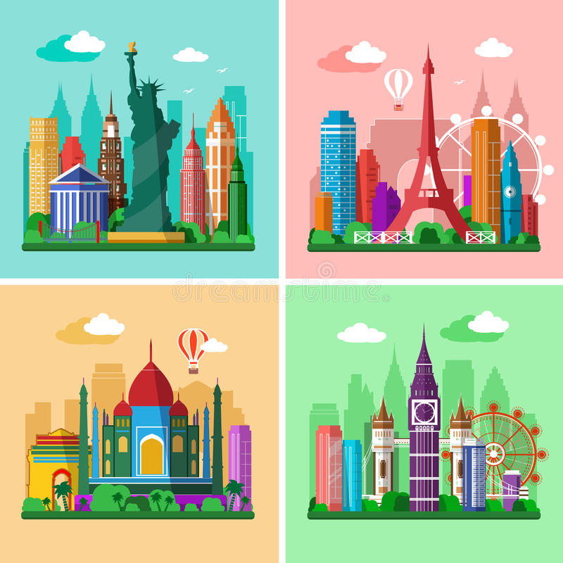 Traveling around the world. Cities skylines set. Flat landscapes of London, Paris, New York and Delhi with landmarks. Vector illustration
