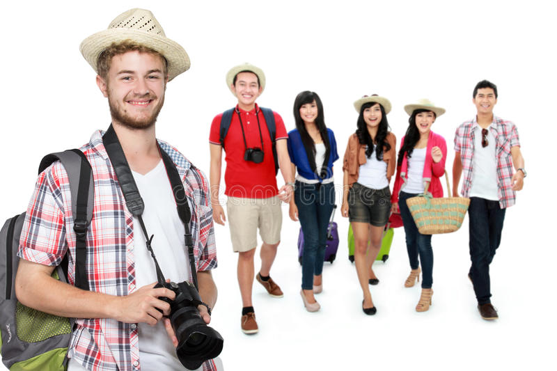 Traveling around the world with friends stock images
