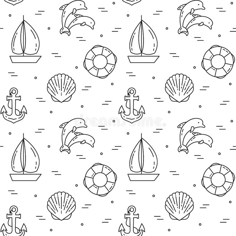 Traveling background. Seamless pattern with sailboat, dolphins, shell, anchor and lifebuoy. stock illustration