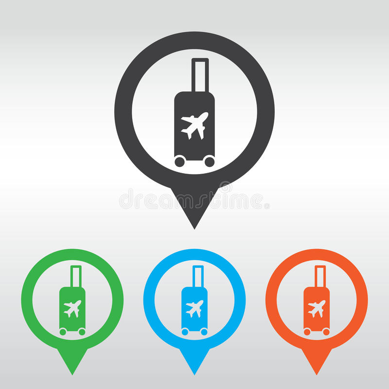 Traveling bag - Vector illustration isolated, icon map pin royalty free illustration
