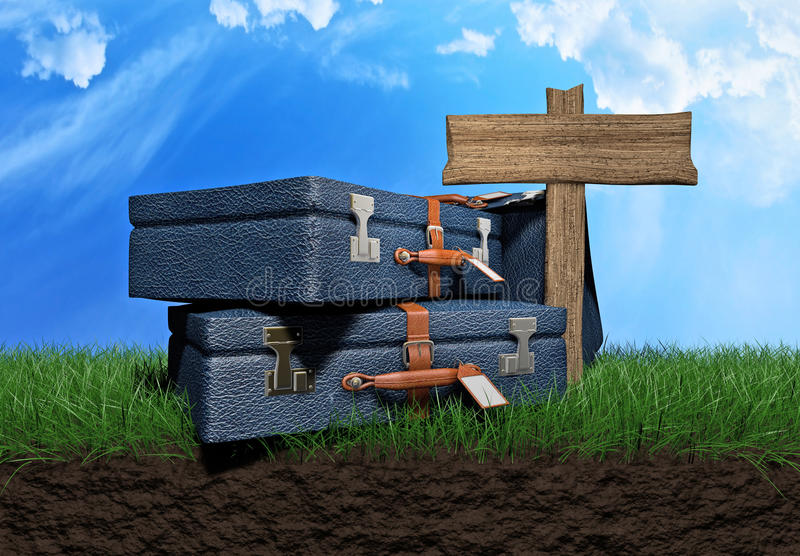 Traveling bags. Over a grass field 3d illustration vector illustration