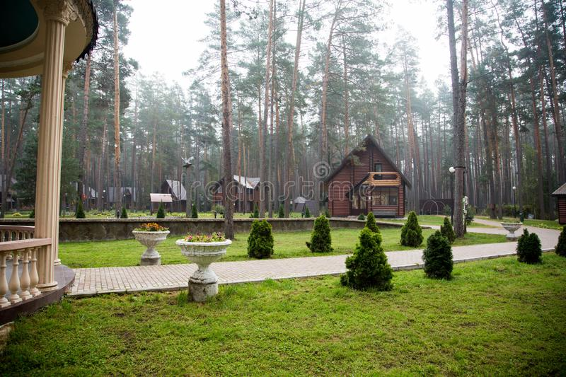 Traveling in Bryansk, you will see many amazing and beautiful places, and this is one of them!. Zhukovka, the nature is magnificent, forest, pines, sanatorium royalty free stock photos