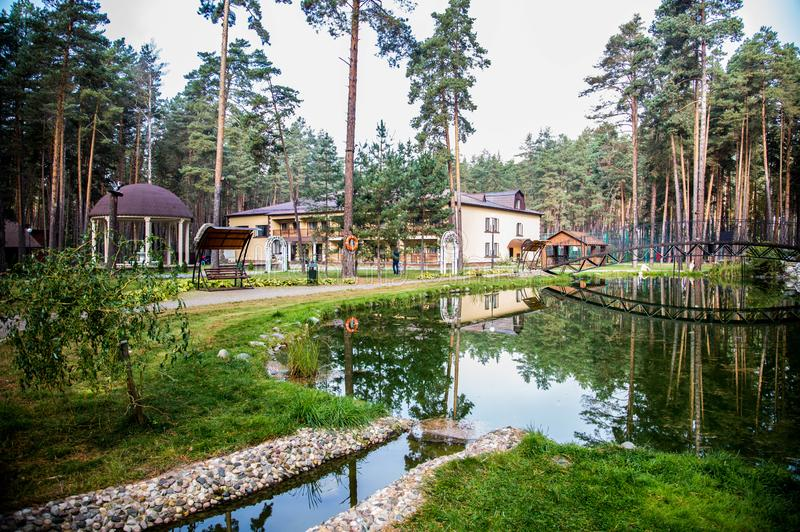 Traveling in Bryansk, you will see many amazing and beautiful places, and this is one of them!. Zhukovka, the nature is magnificent, forest, pines, sanatorium royalty free stock photography