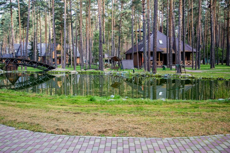 Traveling in Bryansk, you will see many amazing and beautiful places, and this is one of them!. Zhukovka, the nature is magnificent, forest, pines, sanatorium royalty free stock image