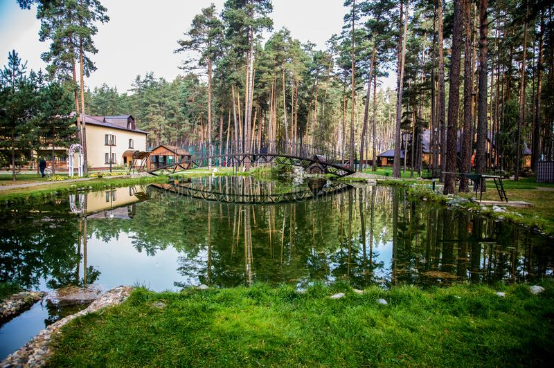 Traveling in Bryansk, you will see many amazing and beautiful places, and this is one of them!. Zhukovka, the nature is magnificent, forest, pines, sanatorium stock photography