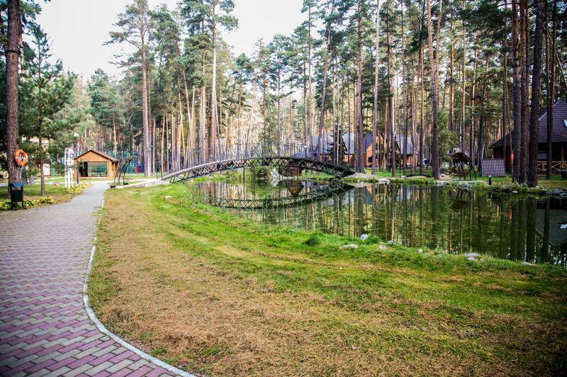 Traveling in Bryansk, you will see many amazing and beautiful places, and this is one of them!. Zhukovka, the nature is magnificent, forest, pines, sanatorium stock image