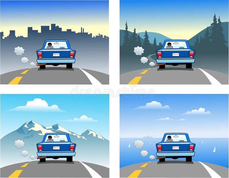 Traveling in a car royalty free illustration