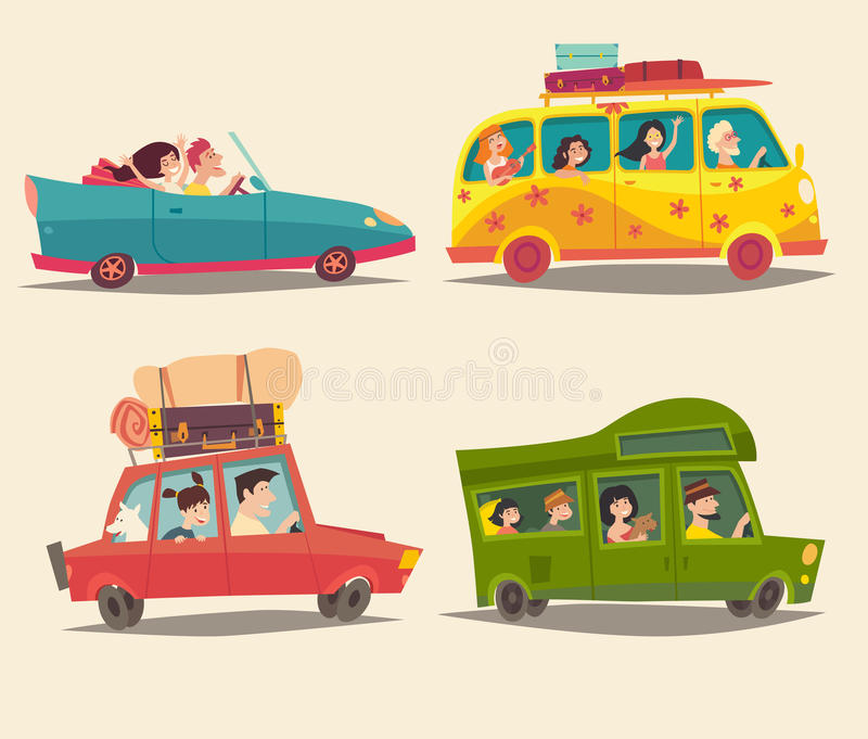 Traveling by car, cabriolet, bus and Trailer with happy people. Summer vacation, tourism stock illustration