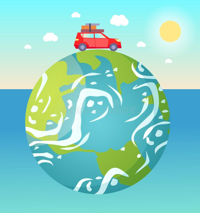 Traveling Car Riding on Big Planet Earth Vector. Earth planet floating in water vector, red car with baggage and luggage on roof riding, sunshine and fine vector illustration