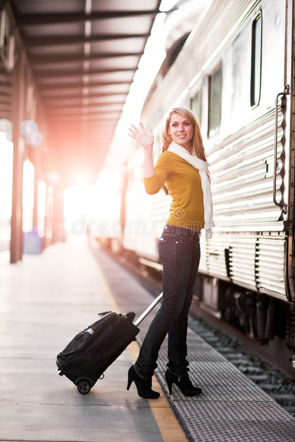 Traveling Caucasian woman stock photos
