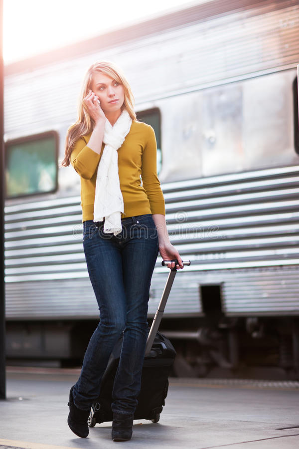 Traveling Caucasian woman stock images