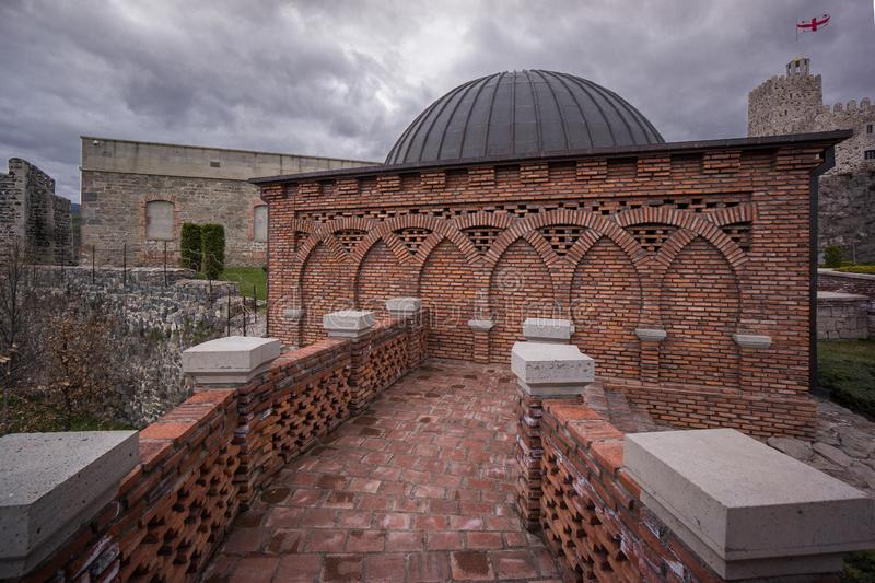 Medieval osmanian brick mosque in rabati castle. Traveling in caucasus beautiful Georgia medieval osmanian brick mosque in rabati castle royalty free stock photos