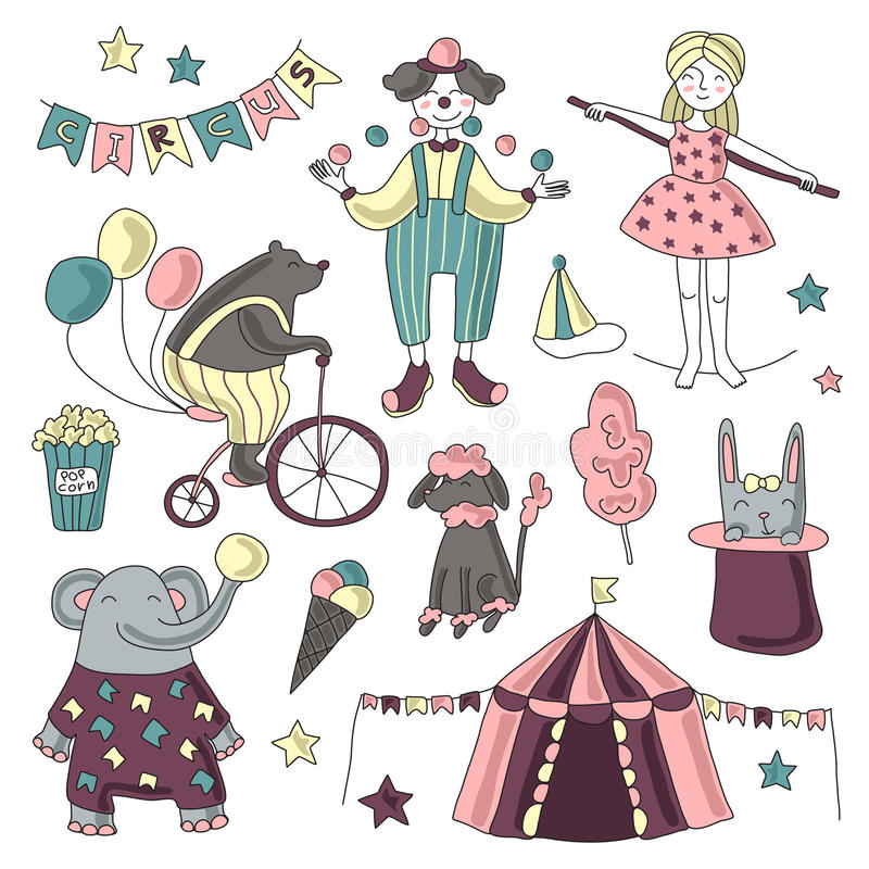 Traveling chapiteau circus. Vector illustration, set of circus performers, trained animals and circus props. royalty free illustration