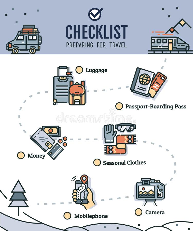 Traveling checklist with travel illustration stock illustration