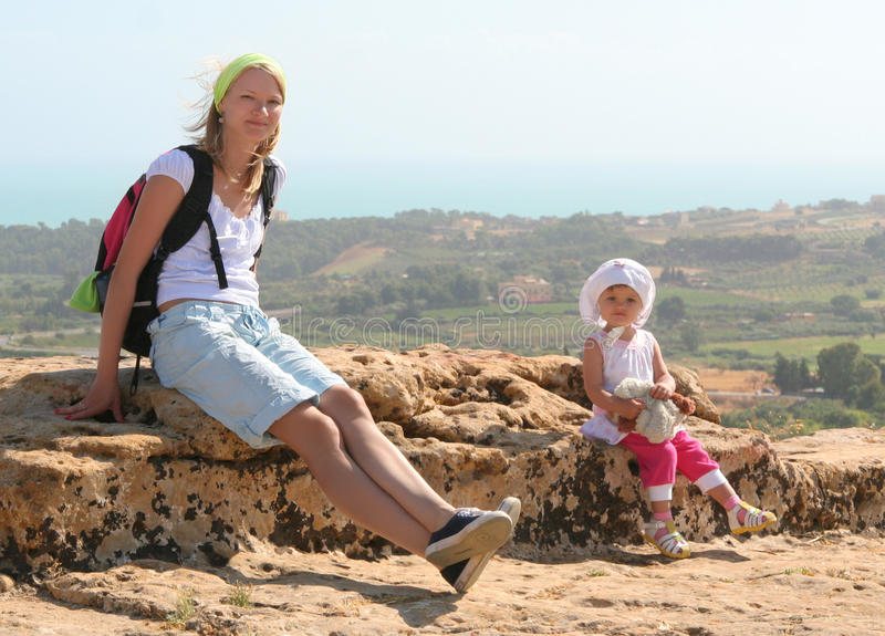 Download Traveling with a child stock image. Image of girl, mountains - 10523693