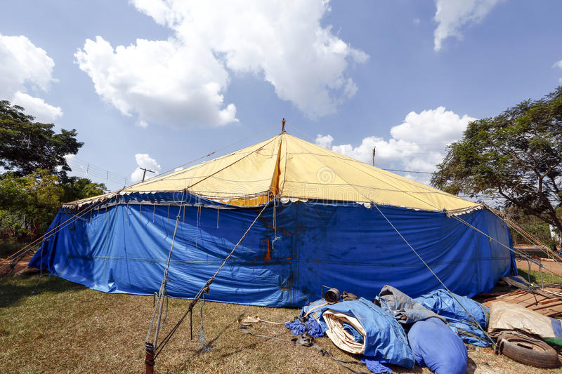 Traveling circus installed in the Brazil countryside stock images