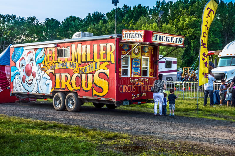 Traveling Circus. OLD BRIDGE, NEW JERSEY -JUNE 8 - The Traveling Kelly Miller Circus trailer trucks on June 8 2015 in Old Bridge New Jersey royalty free stock image