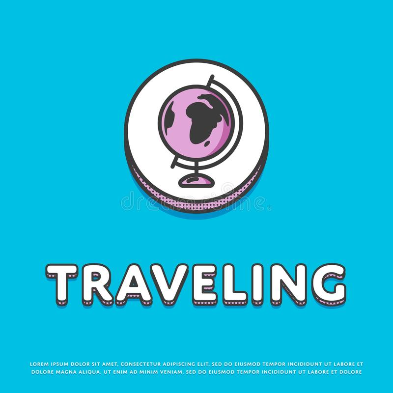 Traveling colour icon with globe royalty free illustration