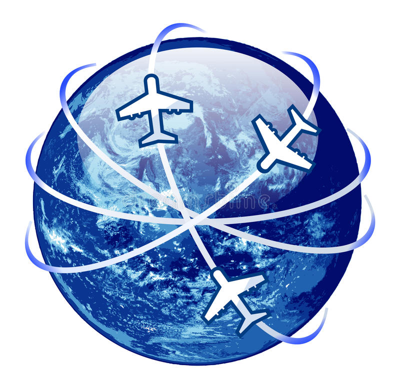 Traveling concept. globe surranded by airplane