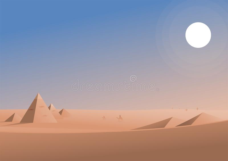 Traveling in desert area illustration vector illustration
