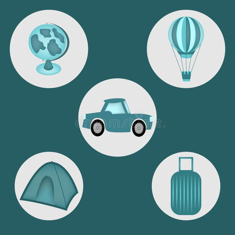 Set of traveling equipment such as car, suitcase, globe and flying ball stock photography