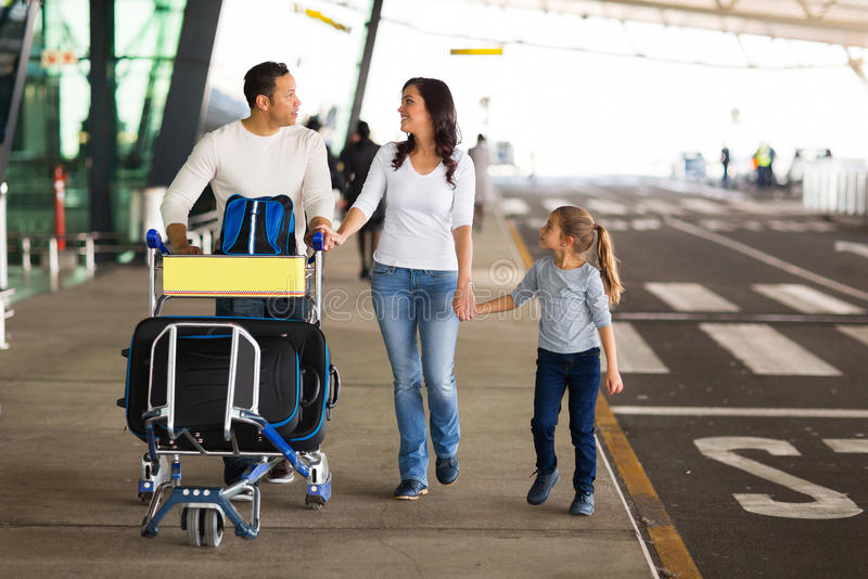 Traveling family airport royalty free stock images