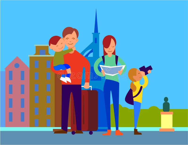 Traveling With Family Flat Design Colorful Concept royalty free illustration