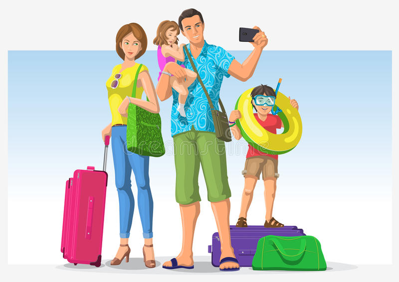 Download Traveling Family Going On Vacation Stock Vector