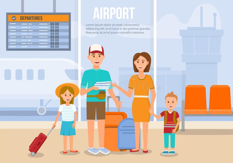 Traveling Family On Vacation  Vector Illustration  Stock