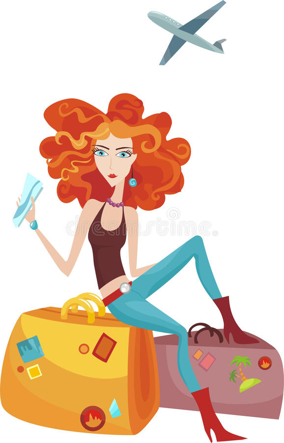 Traveling Girl Royalty Free Stock Images