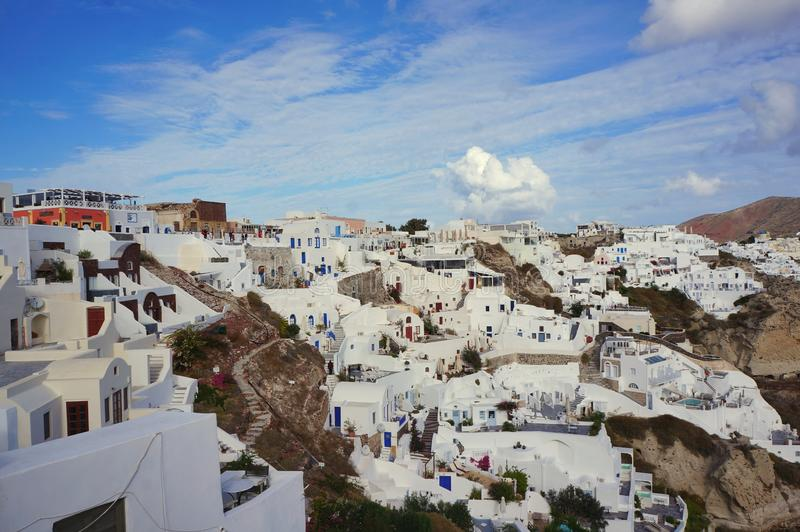 Traveling for honeymoonvin Oia Santorini Greece. Europe travel for honeymoon vacation fun summer in Oia Santorini Greece island royalty free stock images