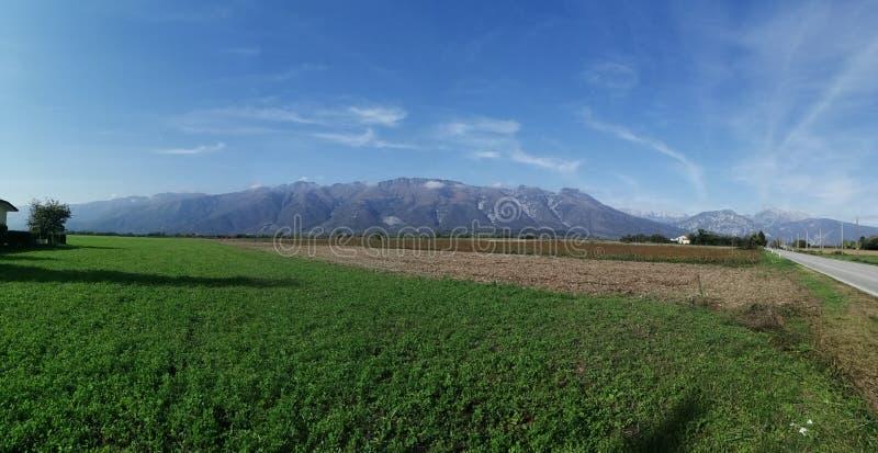 Traveling among Italian mountain landscapes stock image