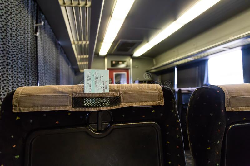Back of seat in train royalty free stock photography