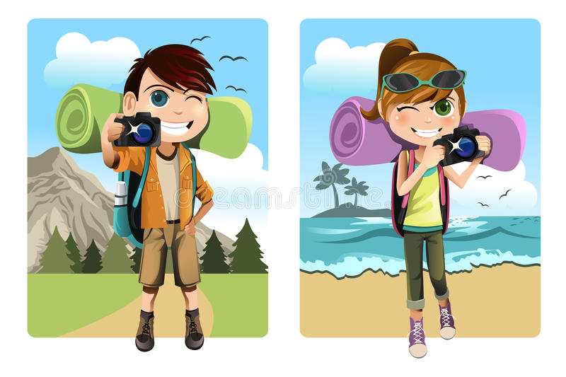 Download Traveling kids stock vector. Illustration of drawing - 23254327