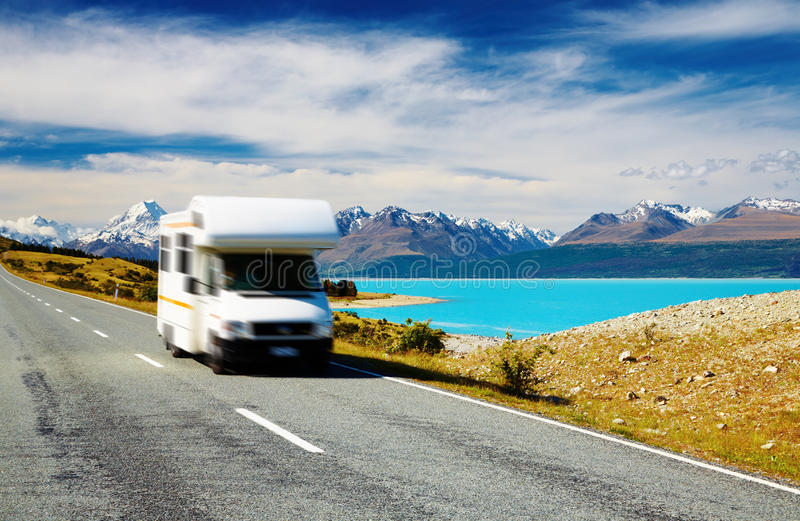Traveling by motorhome. Mount Cook, New Zealand. Car in motion blur