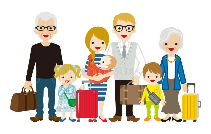 Traveling Multi-Generation family - Caucasian royalty free illustration