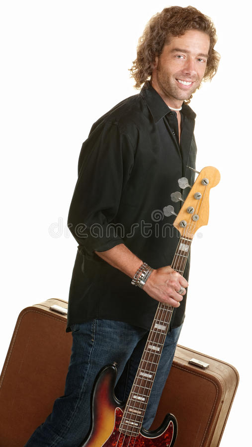 Traveling Musician With Guitar Royalty Free Stock Photo