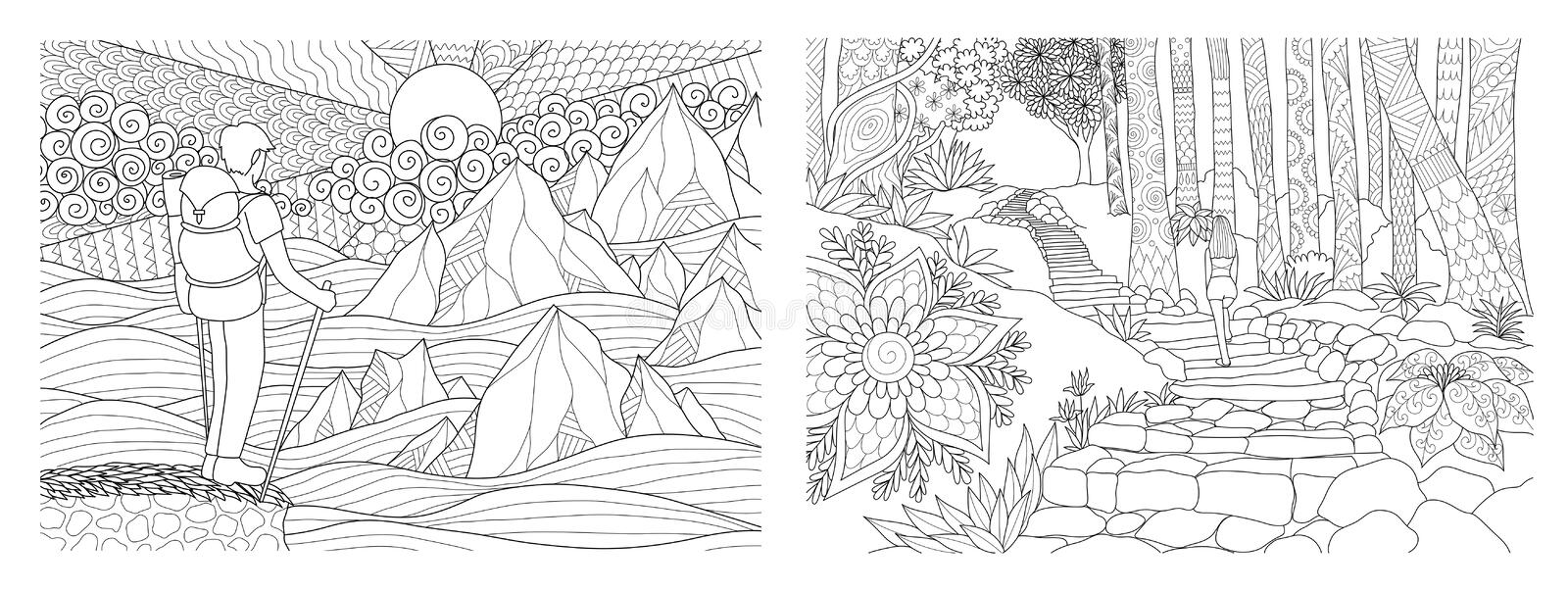 Traveling in nature adult coloring pages collection. Vector illustration stock illustration