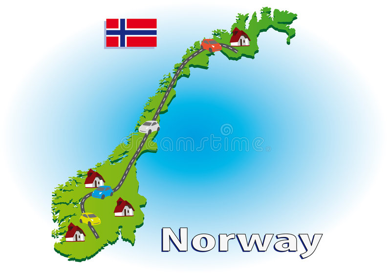 Traveling in Norway stock illustration