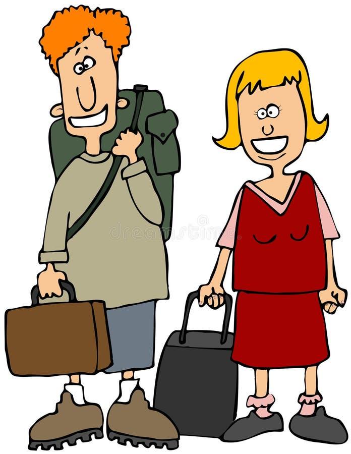 Traveling Pair royalty free illustration