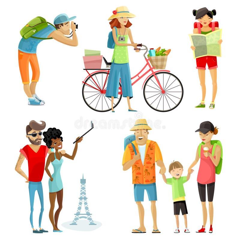 Traveling People Cartoon Set stock illustration