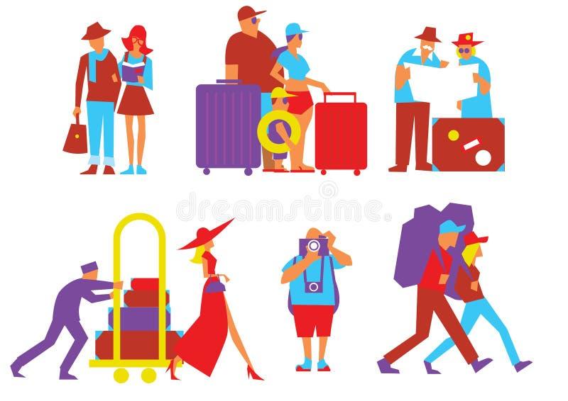 Traveling people set in flat design vector illustration