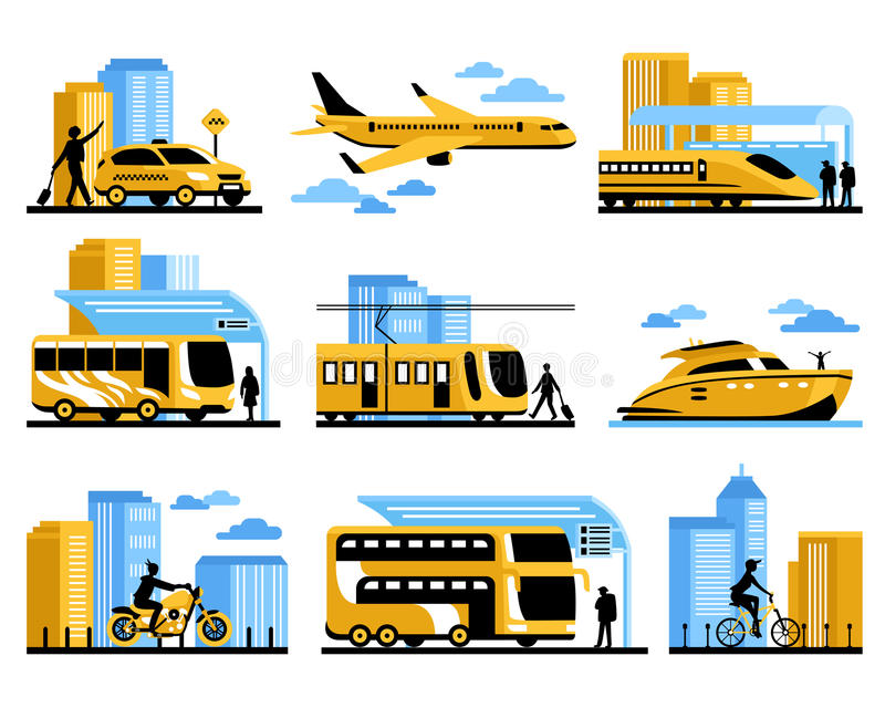 Traveling People Isolated Decorative Icons Set vector illustration