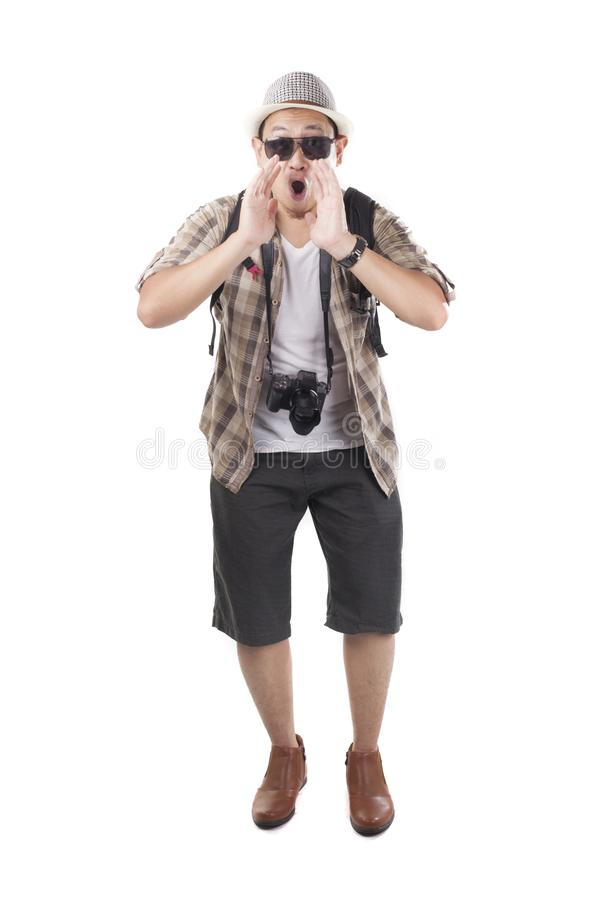 Traveling People Isolated on White. Male Backpacker Tourist Announcing Something stock images
