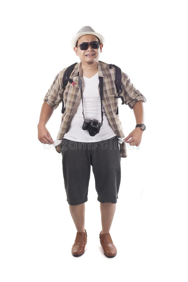 Traveling People Isolated on White. Male Backpacker Tourist Broke Empty Wallet royalty free stock image
