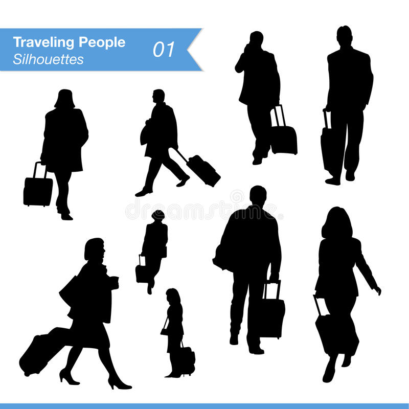 Traveling People Silhouettes. Travel and tourism silhouettes. Collection of travelling businessmen and business women silhouettes at airport or train station EPS royalty free illustration