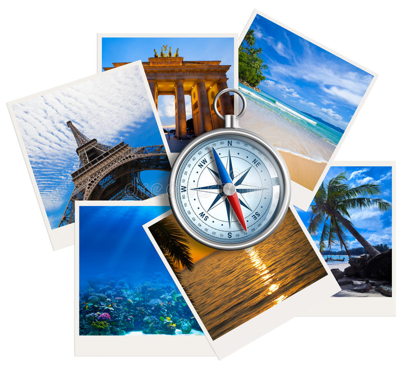 Traveling photos collage with compass stock photos