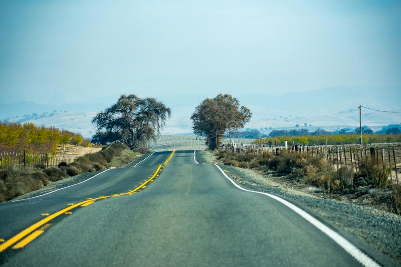 Traveling Road Through the Central Valley royalty free stock image