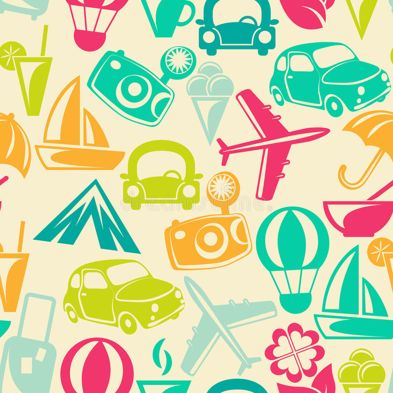 Free Traveling Seamless Pattern Royalty Free Stock Photos - 40327148